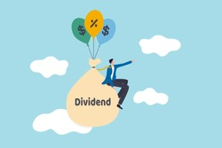 Dividend Stock investment return in financial crisis COVID-19 Coronavirus crash concept, happy businessman stock investor sitting on money bag with the word dividend floating with dollar sign balloons