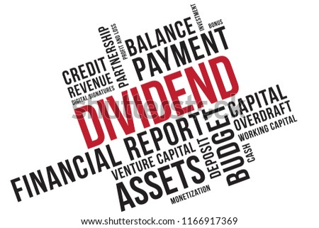 DIVIDEND word cloud collage, business concept background. Venture capital.