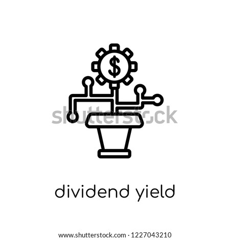 dividend yield icon. Trendy modern flat linear vector dividend yield icon on white background from thin line Dividend yield collection, outline vector illustration