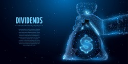 Dividends . Polygonal hand holding a dividends bag on blue background.  Allegory in low poly style. Vector illustration