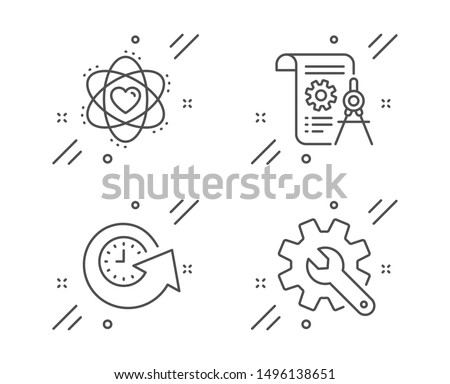 Divider document, Update time and Atom line icons set. Customisation sign. Report file, Refresh watch, Electron. Settings. Technology set. Line divider document outline icon. Vector
