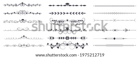 Divider ornament is a large collection set. Hand-drawn vector line dividers decorated with flowers and leaves. Decorations for greeting cards and posters. Vector illustration, isolated set Stock photo ©