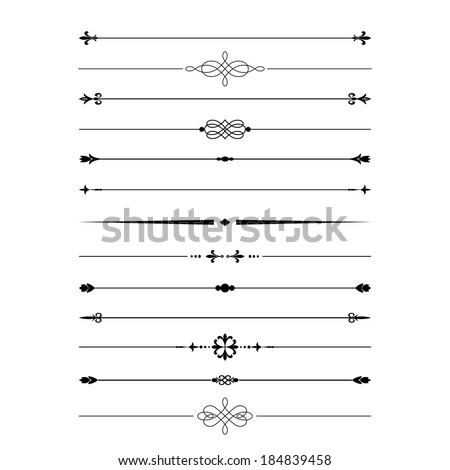 Divider set isolated on white. Calligraphic design elements.