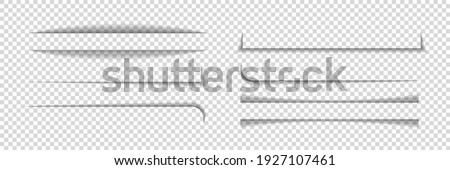 Divider shadow lines. Divider of paper with shadows. Box for web page. Banner with frame on transparent background. Design borders with effect for text. Set of graphic element for website. Vector. Foto stock ©