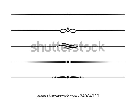 Dividers and Accents #6. Five decorative lines.