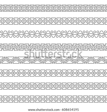 Dividers vector set. Design elements for text and decoration. Geometric horizontal seamless border. It is easy to edit the color and thickness of lines. Vector  EPS-10 isolated on white background. #608654195