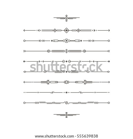 Dividers vector set. Geometric vintage horizontal isolated line border and text design element. Collection of page rules. Separation text selection. Minimalism. Royal book border collection.
