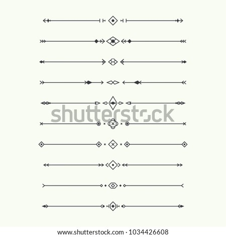 Dividers vector set isolated. Geometric horizontal vintage line border and text design element. Collection of decorative page rules. Separation select text.