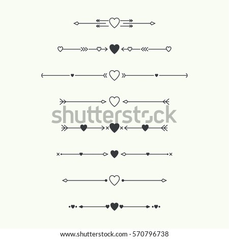 Dividers vector set isolated. Geometric horizontal vintage line with heart. Collection of decorative page rules. Separation select text.