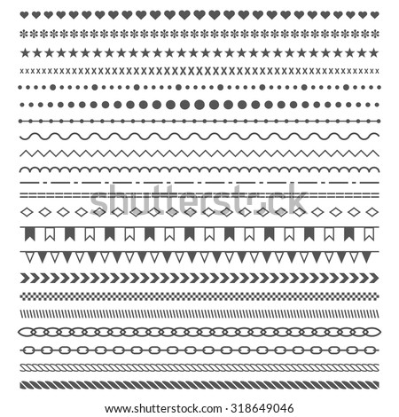 Dividers vector set isolated on white background. Geometric horizontal  vintage fashion pattern. Line border and text design element. Trendy styled ornaments. Each element is grouped for easy editing.