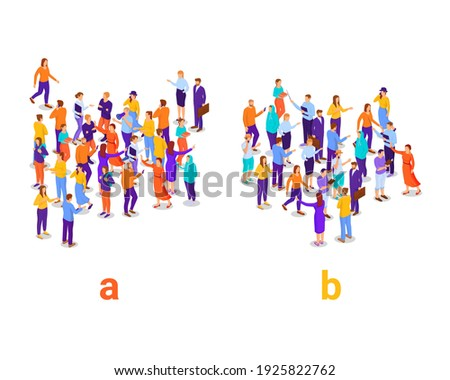 Dividing people into two groups isometric concept. Social experiment with division into a and b research populations vector characters. Photo stock ©