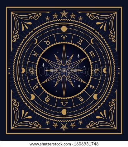Divine magic occult symbolism occultism vintage label vector ストックフォト ©