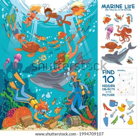 Diving and snorkeling. Underwater life. Find all marine animals in the picture. Find 10 hidden objects in the picture. Puzzle Hidden Items. Funny cartoon character. Vector illustration
