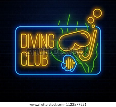 diving club neon sign isolated on brick wall