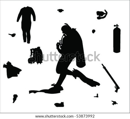 diving equipment and diver vector