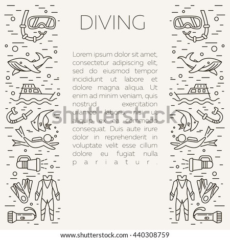 Diving icons. Underwater activity vector icons. Scuba-diving elements isolated. Summer concept - diving line icons. Marine symbols. Diving equipment. Scuba diving and underwater objects.