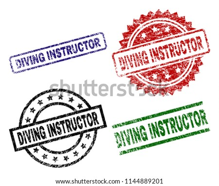 DIVING INSTRUCTOR seal prints with damaged surface. Black, green,red,blue vector rubber prints of DIVING INSTRUCTOR label with retro texture. Rubber seals with round, rectangle, rosette shapes.