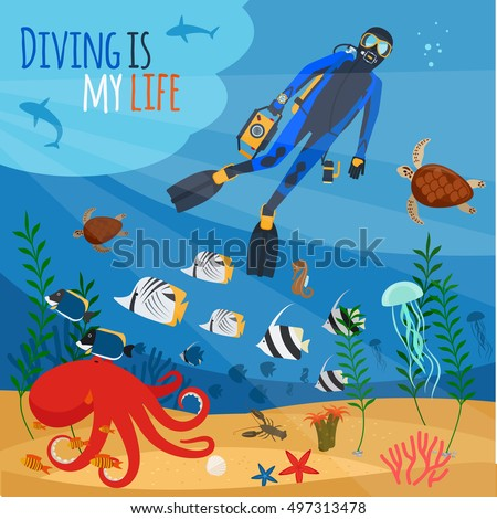 diving is my life illustration