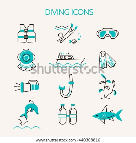 Diving line icons set. Underwater activity vector icons. Scuba-diving elements isolated. Summer concept . Marine symbols. Diving equipment. Scuba diving and underwater objects.