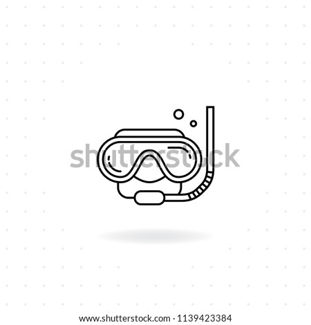 Diving mask icon, Black thin line Diving mask icon with shadow, Vector of Diving mask with snorkel for Diving, Sport water, and Underwater activities