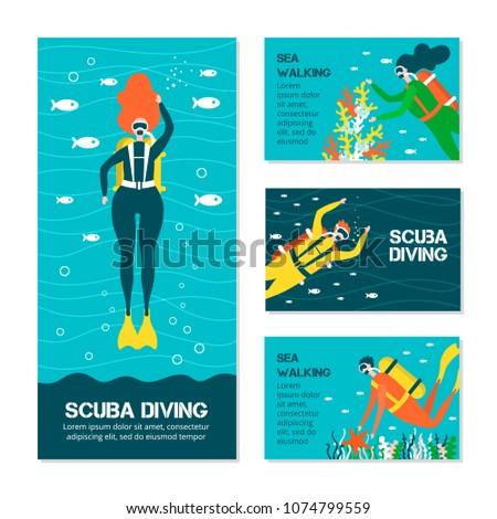 diving people cards underwater