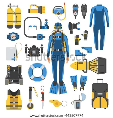 Diving set of elements. Scuba diver man in wetsuit, scuba gear and accessories. Underwater activity and sports items isolated. Scuba diving equipment collection. Snorkeling and scuba diving icon set.