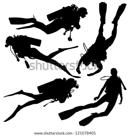 diving silhouette on white