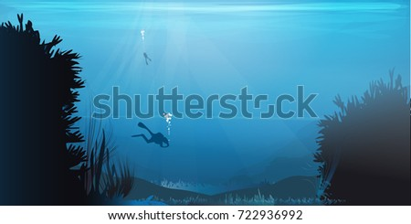 diving to the bottom of the ocean vector illustration