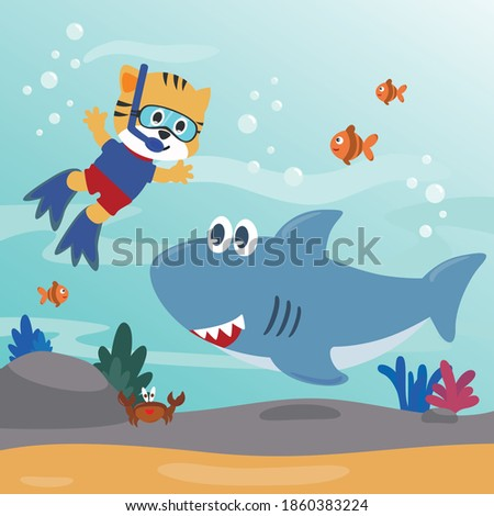 diving with funny cat and shark