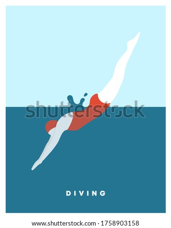 Diving woman. Woman character dives. jumping into water a jump of a sporty woman into swimming pool. Female wearing  swimming suit jumping in water. Modern style. Vector flat illustration.