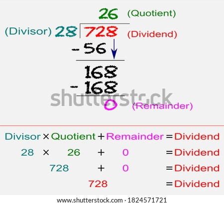 Division of a 3-digit dividend by 2-digit divisor using long division method. Foto stock ©