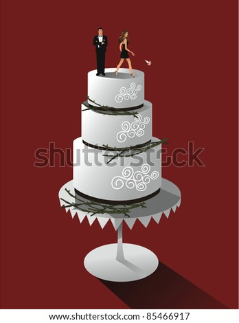 Divorce Cake A couple breaks up atop a divorce cake. EPS 8 vector. Couple is highly detailed.