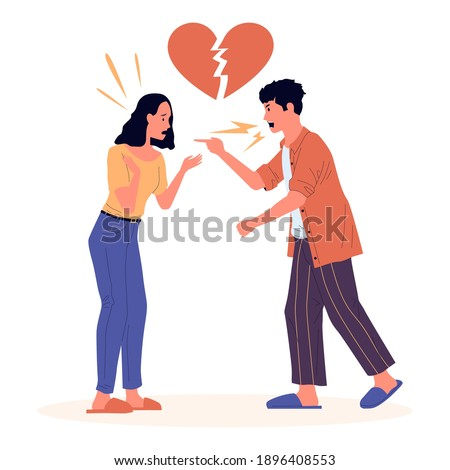 Divorce. Cartoon couple dissolution. Angry quarrel between man and woman. Young people shouting. Family conflict or dispute scene, problem in relations. Isolated broken heart sign. Vector illustration Сток-фото ©