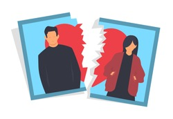 Divorce concept, man and woman breaking up relationships, torn apart photo graph picture, vector illustration