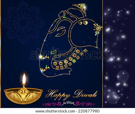 Diwali card design diya on ganesha background vector eps10