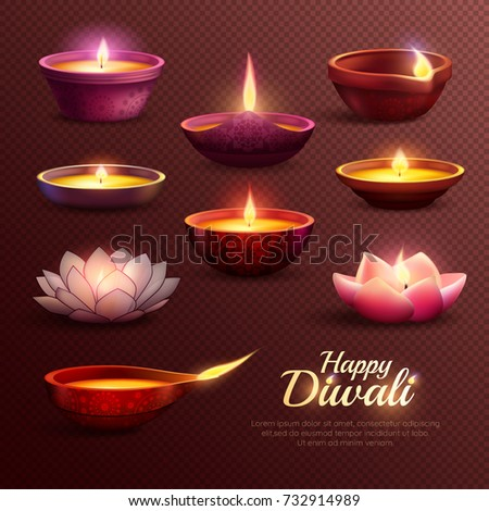 diwali celebration icons set
