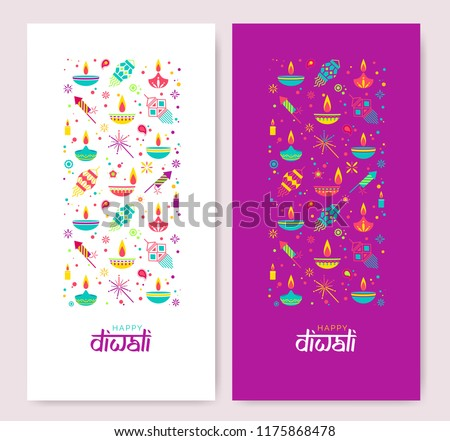 stock-vector-diwali-colorful-posters-with-main-symbols-vector-illustration