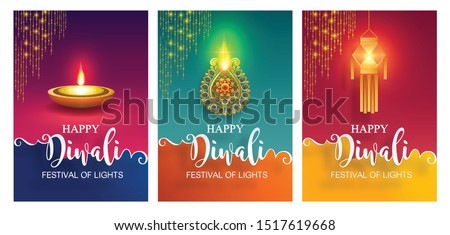 Diwali, Deepavali or Dipavali the festival of lights india with gold diya patterned and crystals on paper color Background.