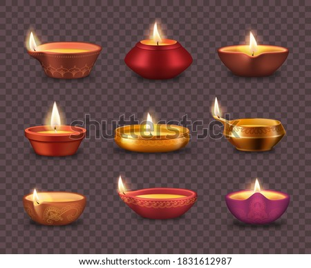 Diwali diya lamps on transparent background realistic vector set of Deepavali or Divali light festival. Indian Hindu religion oil lamps or lanterns with burning candle wicks and rangoli decoration
