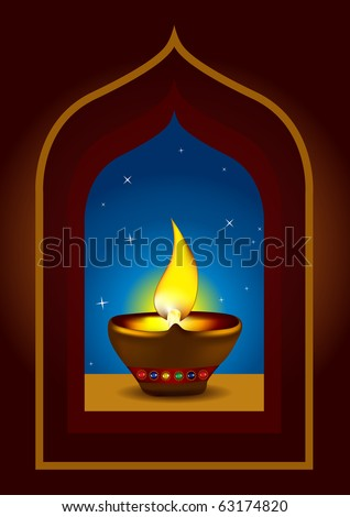 oil lamp vector. Diwali Diya - Oil lamp for