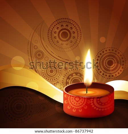 diwali diya on stylish vector background