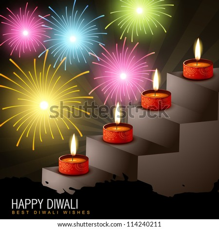 diwali diya with colorful fireworks
