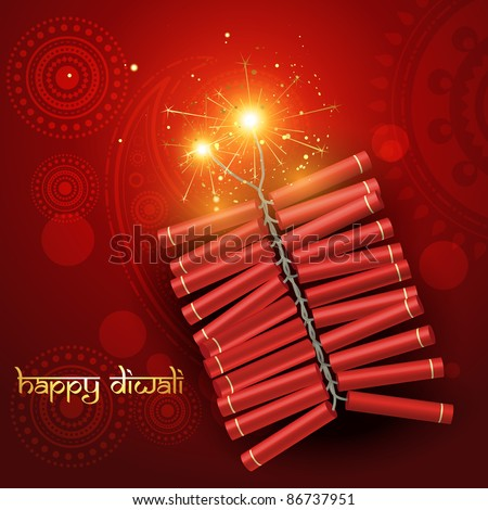 diwali festival crackers on artistic red background
