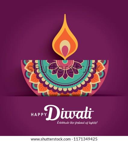 Diwali festival greeting card with colorful diya lamp