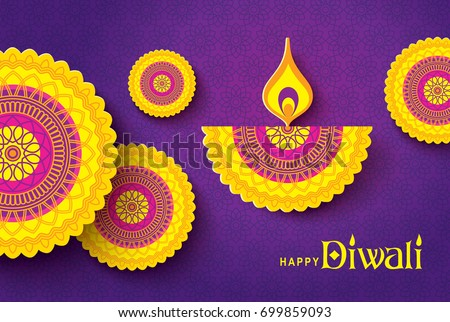 Diwali festival greeting card with colorful rangoli background