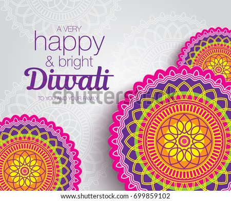 Diwali Festival Greeting Card With Colorful Rangoli Background Abstract Vector Illustration