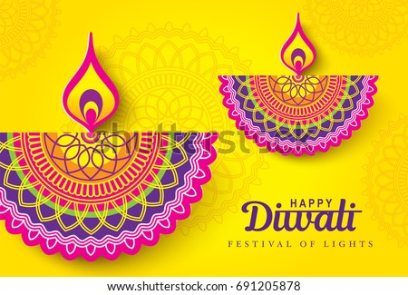 Diwali festival greeting card with Diwali diya (oil lamp)