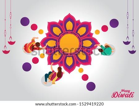 Diwali festival holiday design, Diwali Festival celebration, Vector illustration,Happy Diwali, Indian festival of lights,illustration of burning diya on Happy Diwali Holiday, Hindu festival greeting