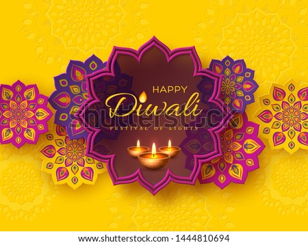 Diwali festival holiday design with paper cut style of Indian Rangoli and diya - oil lamp. Purple color on yellow background. Vector illustration. Stock photo ©