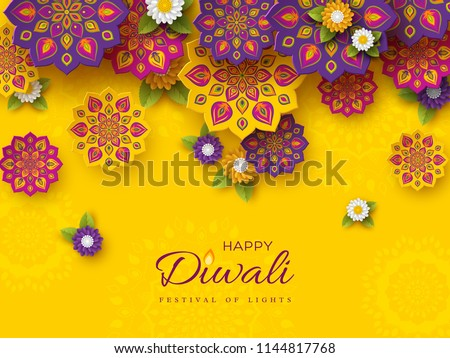 Diwali festival holiday design with paper cut style of Indian Rangoli and flowers. Purple, violet colors on yellow background. Vector illustration.